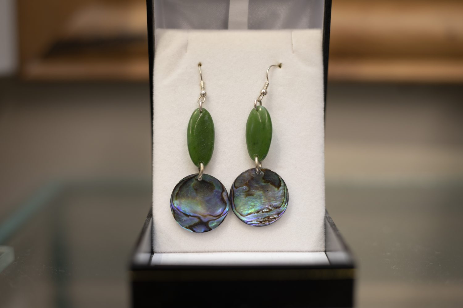 Bonz N Stonz Carving Studio - jade and shell earrings