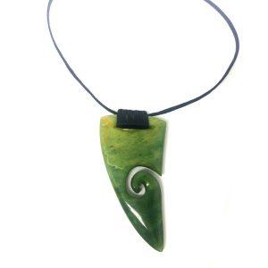 Jade Pounamu Greenstone Shark Tooth Pendant